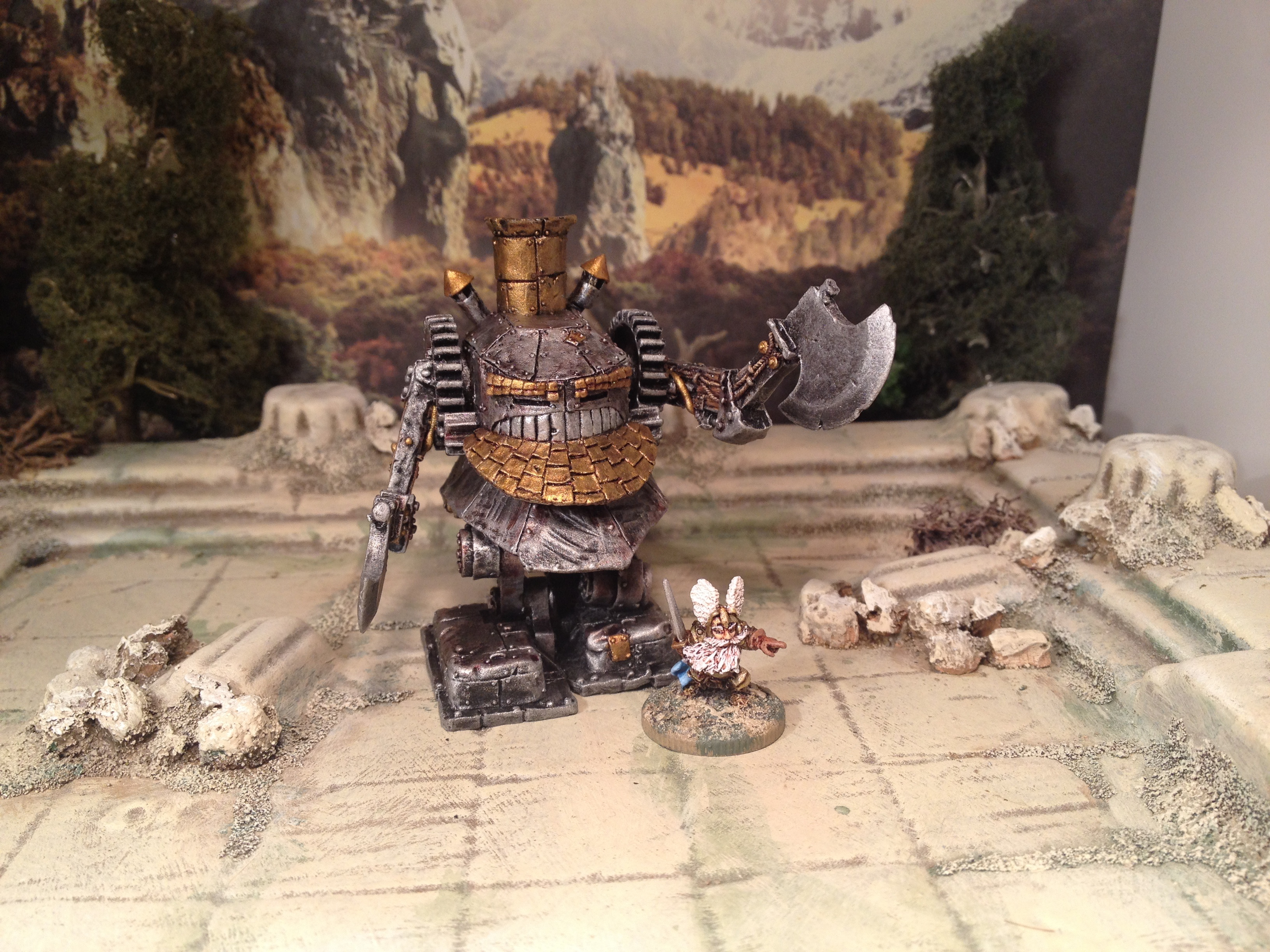 15mm Demonworld Dwarf Battle Rider with Axes Warmachine