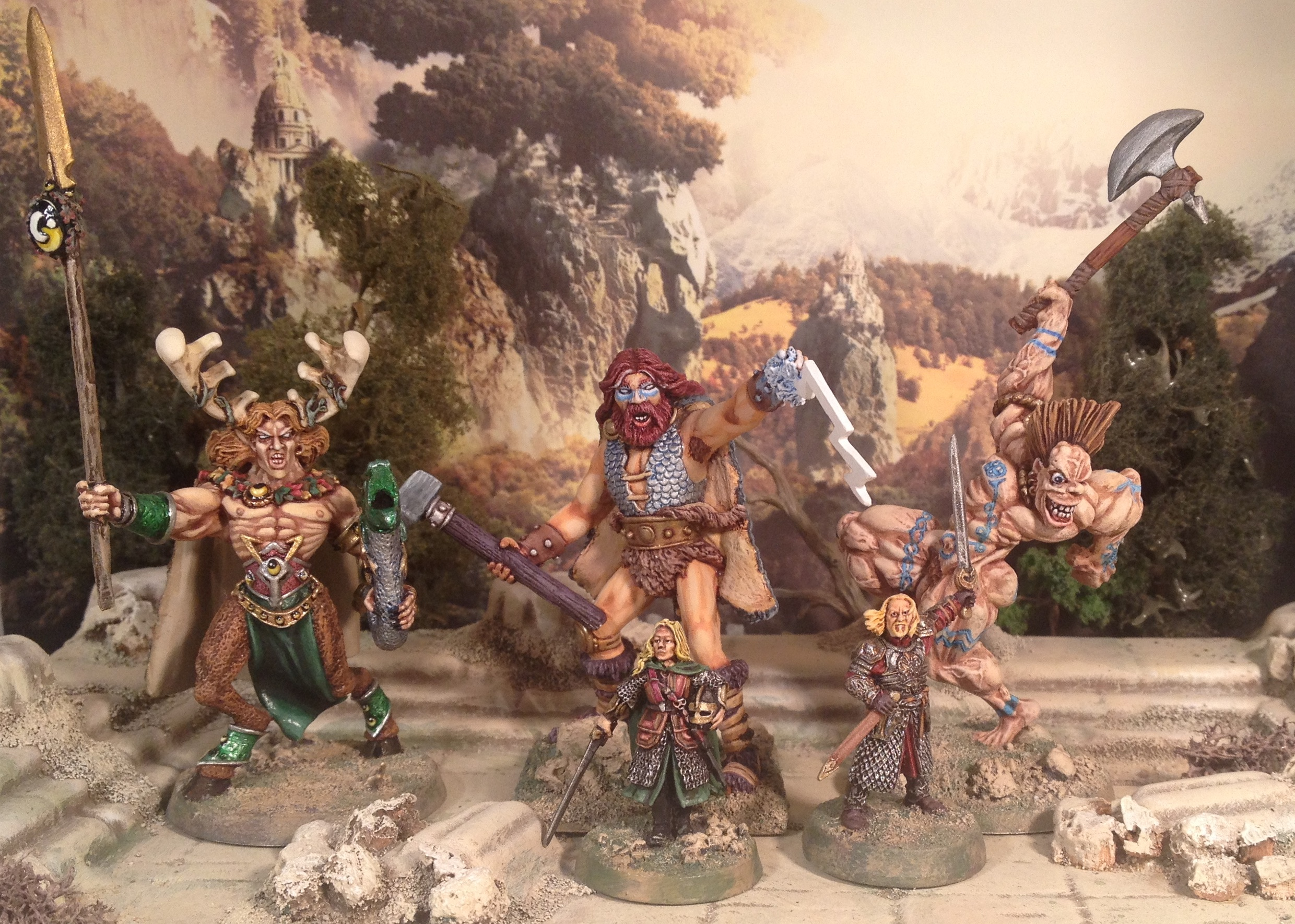 Triad of Gods with 28mm mortal to show scale