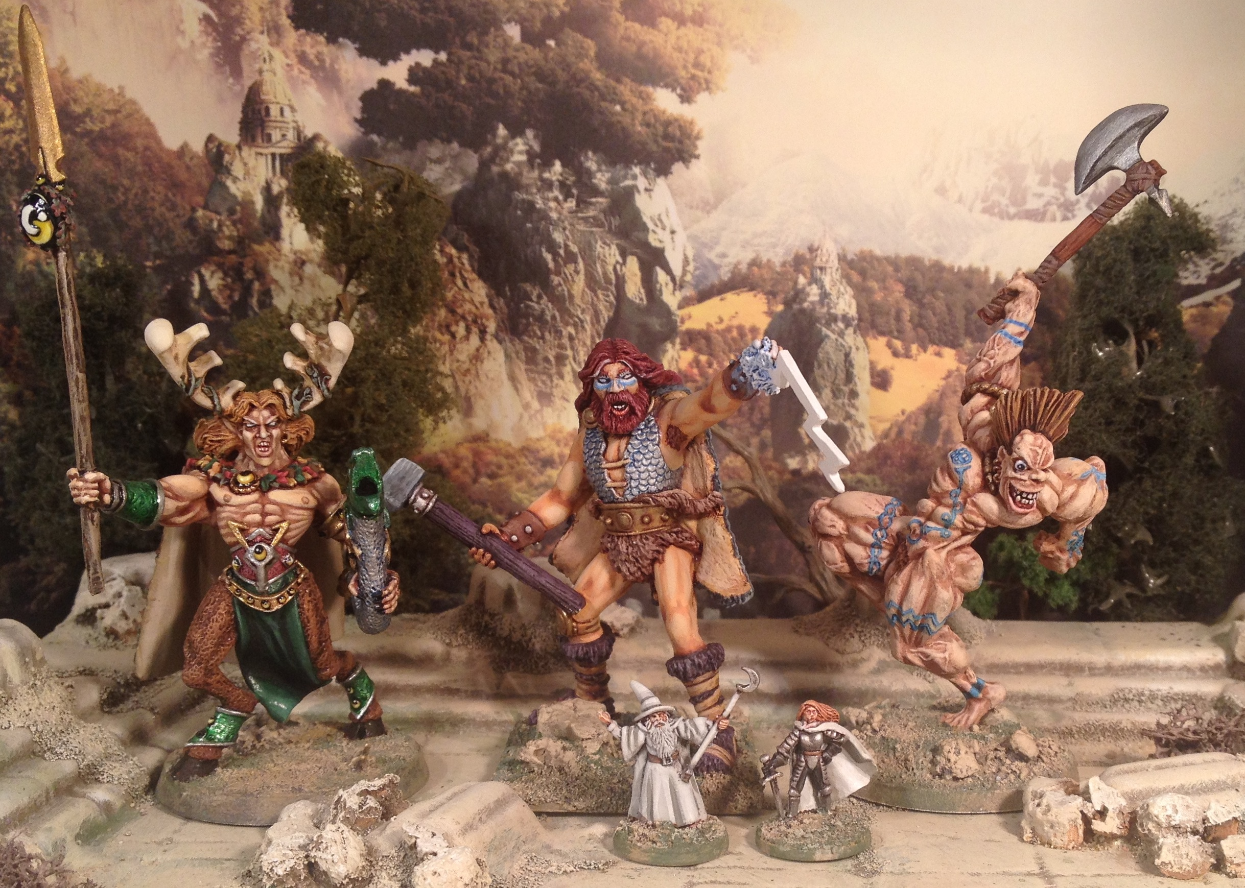 Triad of Gods with 15mm mortal to show scale